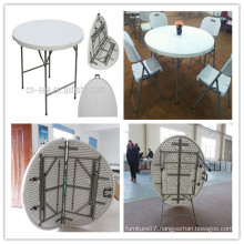 4ft High Quality Blow Mold HDPE Plastic Wholesale Promotional Cheap Round Folding in Half Table (HQ-ZY122)